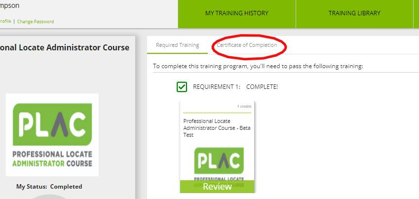 certificate of completion screenshot in plac portal